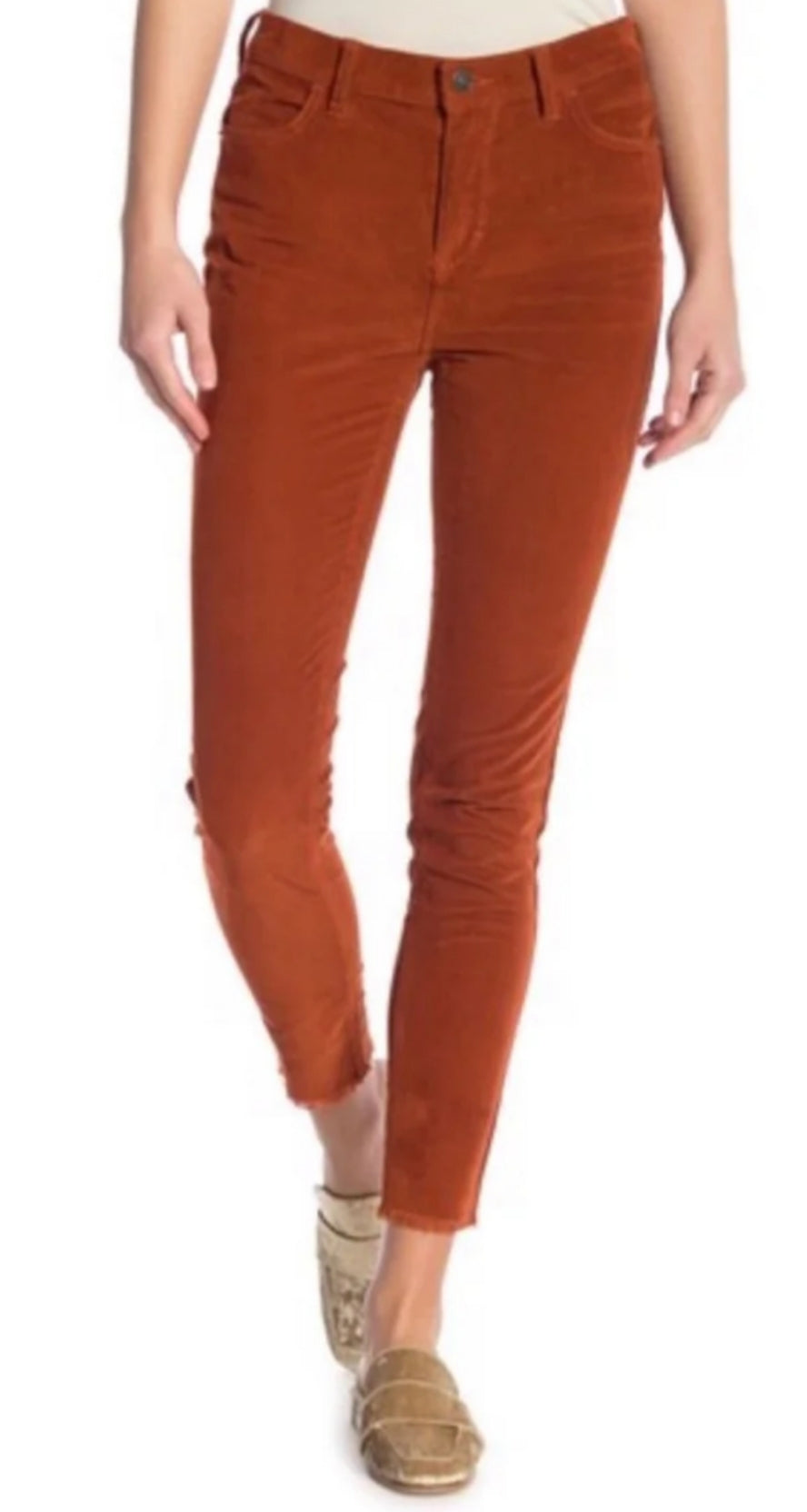 Free People Cord Skinny Pants Fired Chestnut