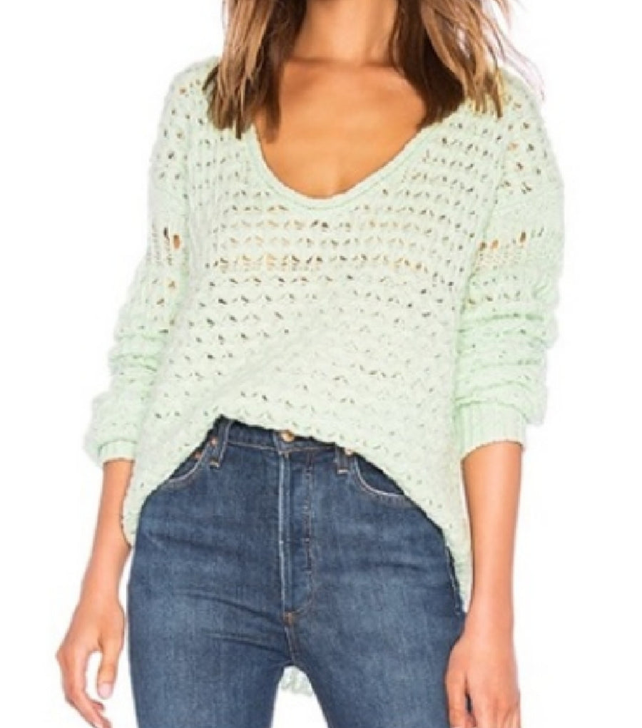 Free People Crashing Waves OpenKnit Sweater Mint L