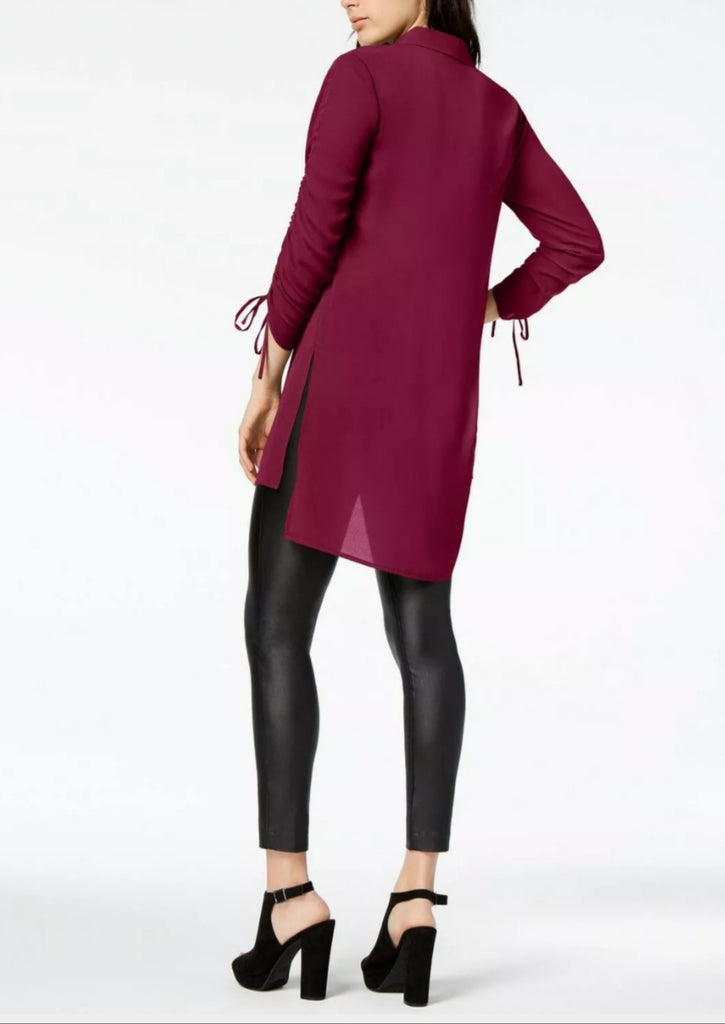 Bar III Ruched High-Low Shirt Glazed Berry M