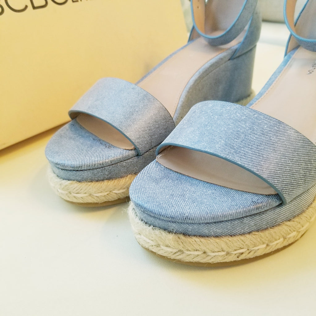 BCBG Addie Espadrille Wedge Sandals Blue 9
