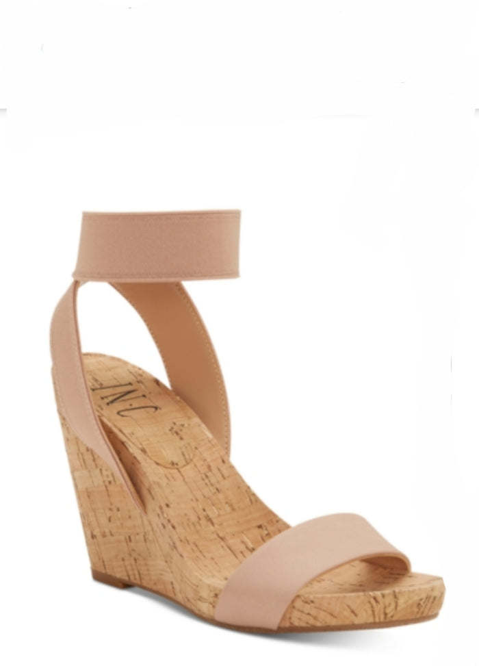 INC Leanira Stretchy Ankle-Strap Wedge Sandals Blush 9