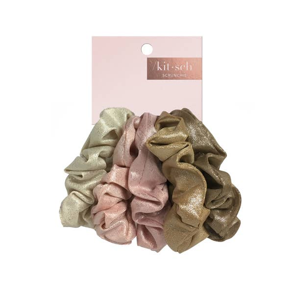 KITSCH | Blush Mauve Metallic Scrunchies