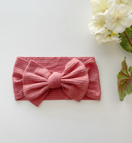 Watermelon Ribbed Bow Headwrap