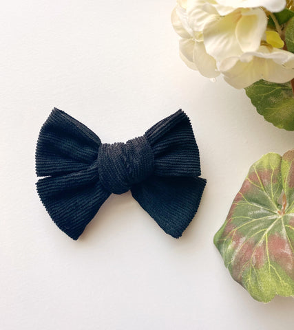 Black Corduroy Bow
