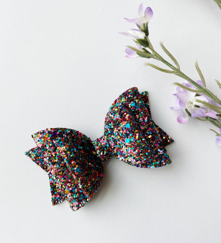 Dark Love Glitter Double Bow