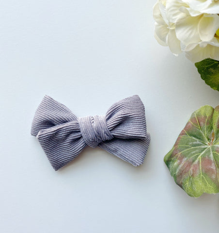Gray Corduroy Bow