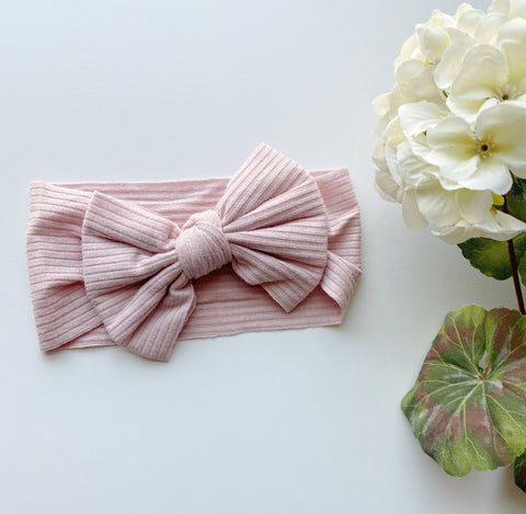 Blush Ribbed Bow Headwrap