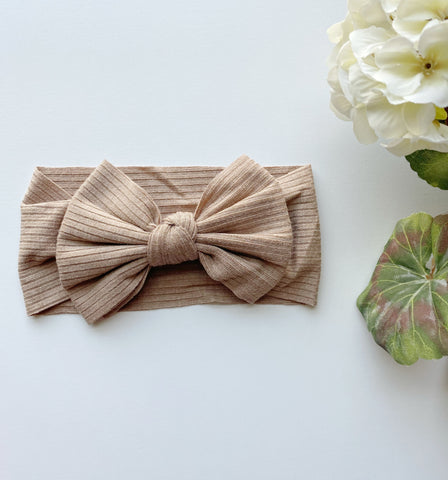 Capuccino Ribbed Bow Headwrap