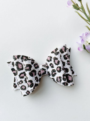 Cheetah Glitter Double Bow
