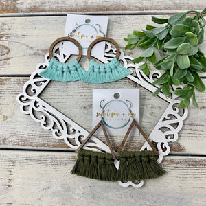 Macrame and Wood Triangle and Pentagon