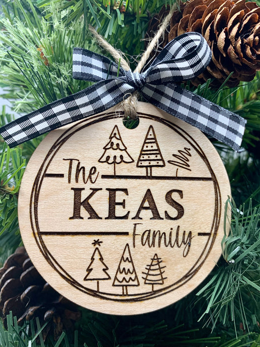 Custom Family Name Ornament