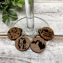 Load image into Gallery viewer, Michigan Wood Wine Charms (set of 4)