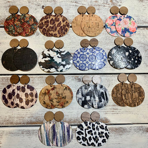 Leather Backed Cork Circles with Wood Studs