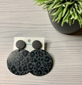 Black and Gray Leopard (Leather Backed Cork Circles with Black wood Studs)