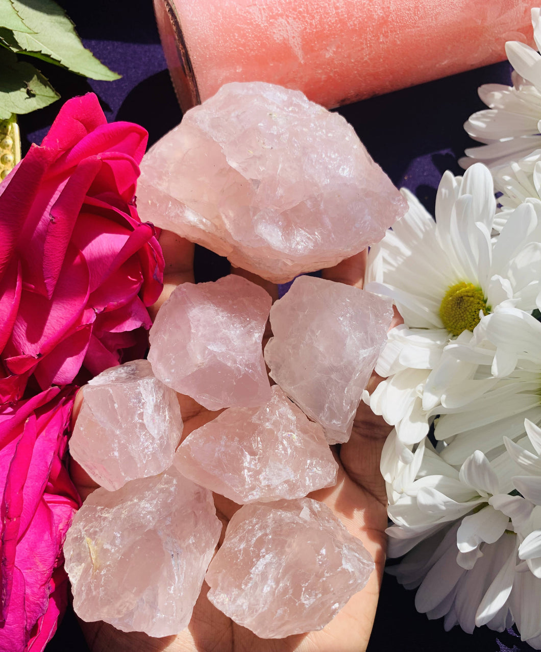Love and Kindness Raw Rose Quartz Crystal- Large