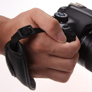 Black Hand Grip Strap Faux Leather For DSLR Cameras