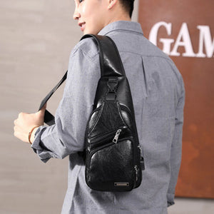 Men's Chest Sling Leather Bag USB And Headphone Access