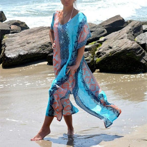Long Printed Chiffon Bikini Cover Up