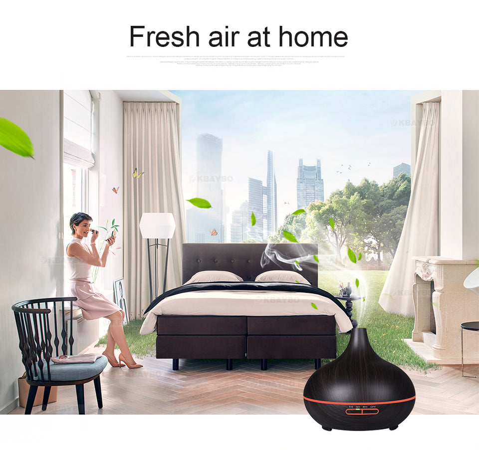 Aroma Air Humidifier Wood Grain with LED lights