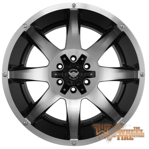 GIMA 10 ATTACK 20x12 GIM10 -44 black/machined face wrapped in 33x12.50r20 HAIDA R/T Complete SET