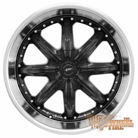 AMERICAN RACING AR650 'Octane' Wheel in Black w/ Stainless Steel Lip (Set of 4)