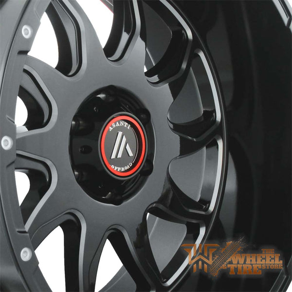 ASANTI Off-Road 22x12 AB810 -44 gloss black/milled wrapped in 33x12.50r22 HAIDA R/T Complete SET
