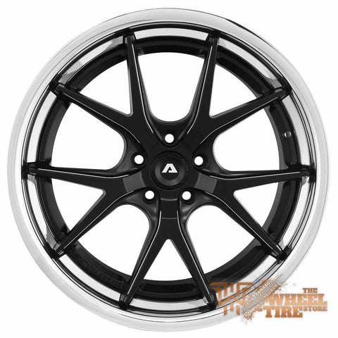 ADVENTUS AVS3 Wheel in Matte Black w/ Milled Accents & Stainless Steel Lip (Set of 4)