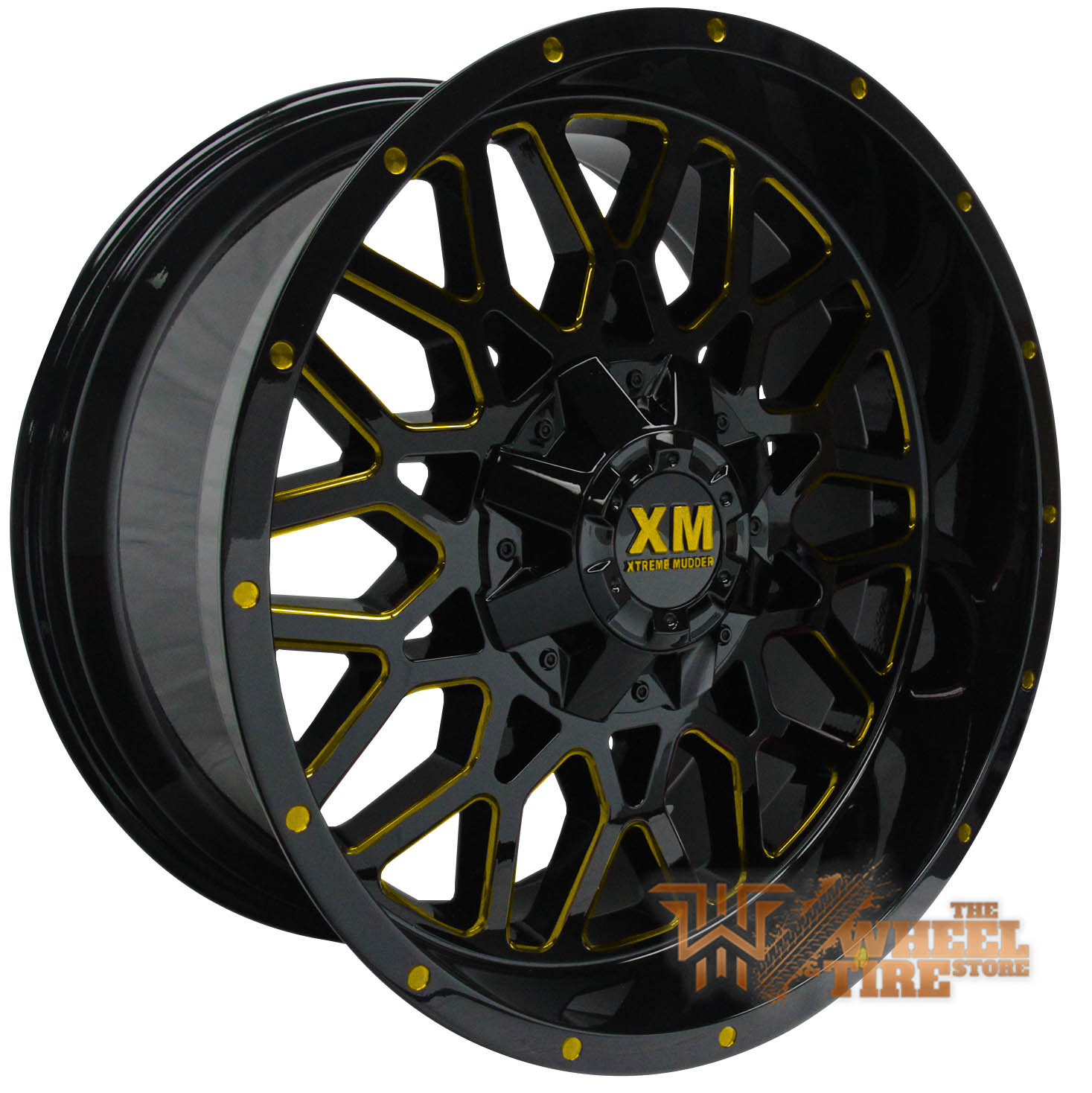 XTREME MUDDER XM-328 Wheel in Gloss Black Yellow Milled (Set of 4)