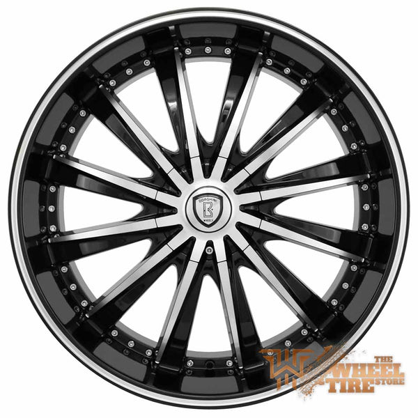 BORGHINI B19 Wheel in Black Machined w/ Milled Lip (Set of 4)