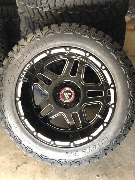ASANTI Off-Road 20x12 AB809 -44 gloss black/milled wrapped in 33x12.50r20 HAIDA R/T Complete SET