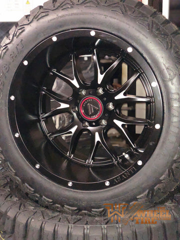 ASANTI Off-Road 20x12 AB807 -44 satin black (semi-gloss) wrapped in 33x12.50r20 HAIDA R/T Complete SET