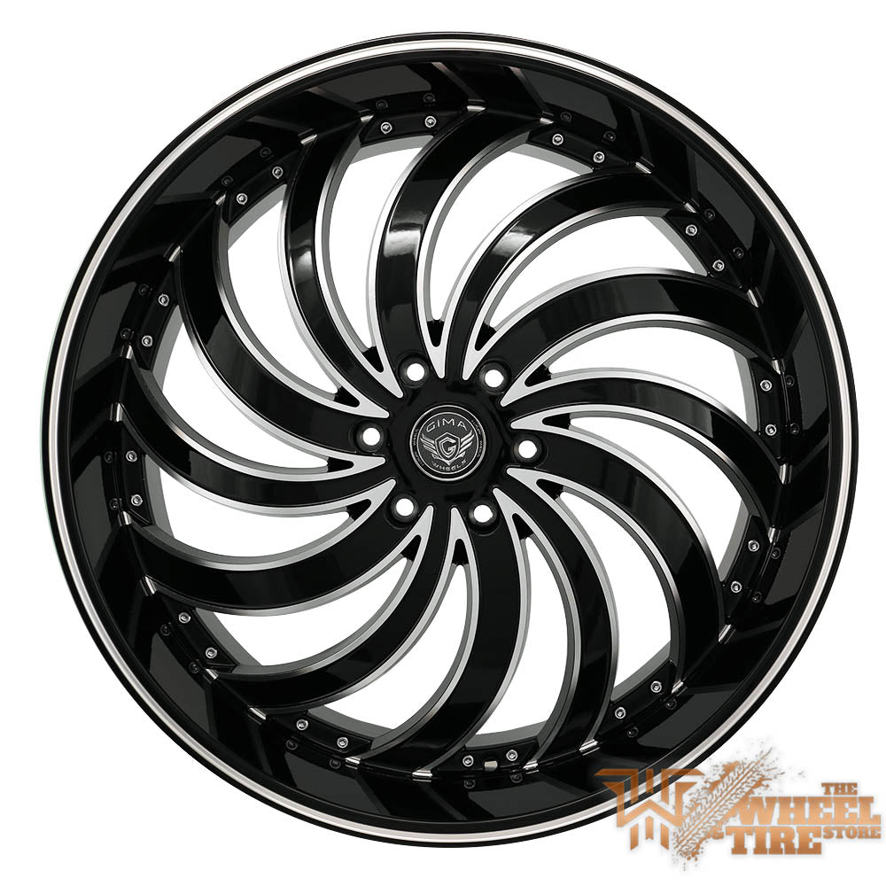 GIMA 4BRD 'In Flames' Directional Right Wheel In Gloss Black w/ Machined Edges & Milled Lips (Set of 4)