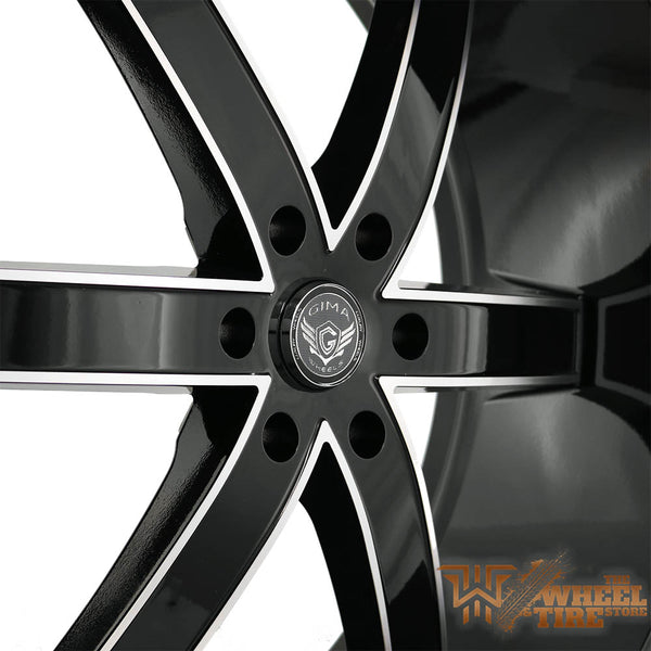 GIMA 'Sigma 6' Wheel in Gloss Black w/ Machined Edge & Milled Lip (Set of 4)