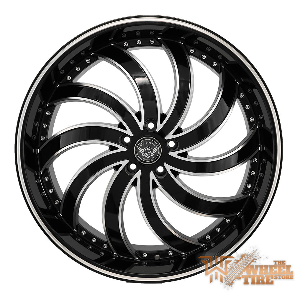 GIMA 4 'In Flames' Directional Left Wheel in Gloss Black w/ Machined Edges & Milled Lips (Set of 4)