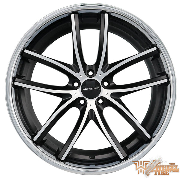 LORENZO WL199 Wheel in Black Machined w/ Stainless Steel Lip (Set of 4)