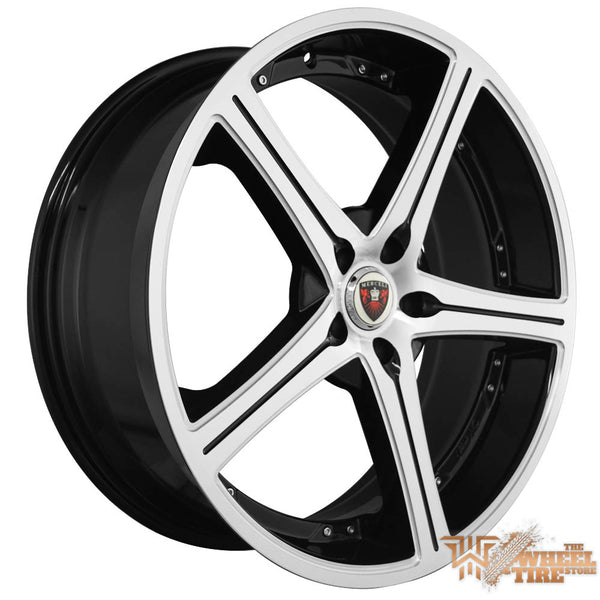 MERCELI M51 Wheel in Satin Machined Face w/ Black Accents & Lip (Set of 4)