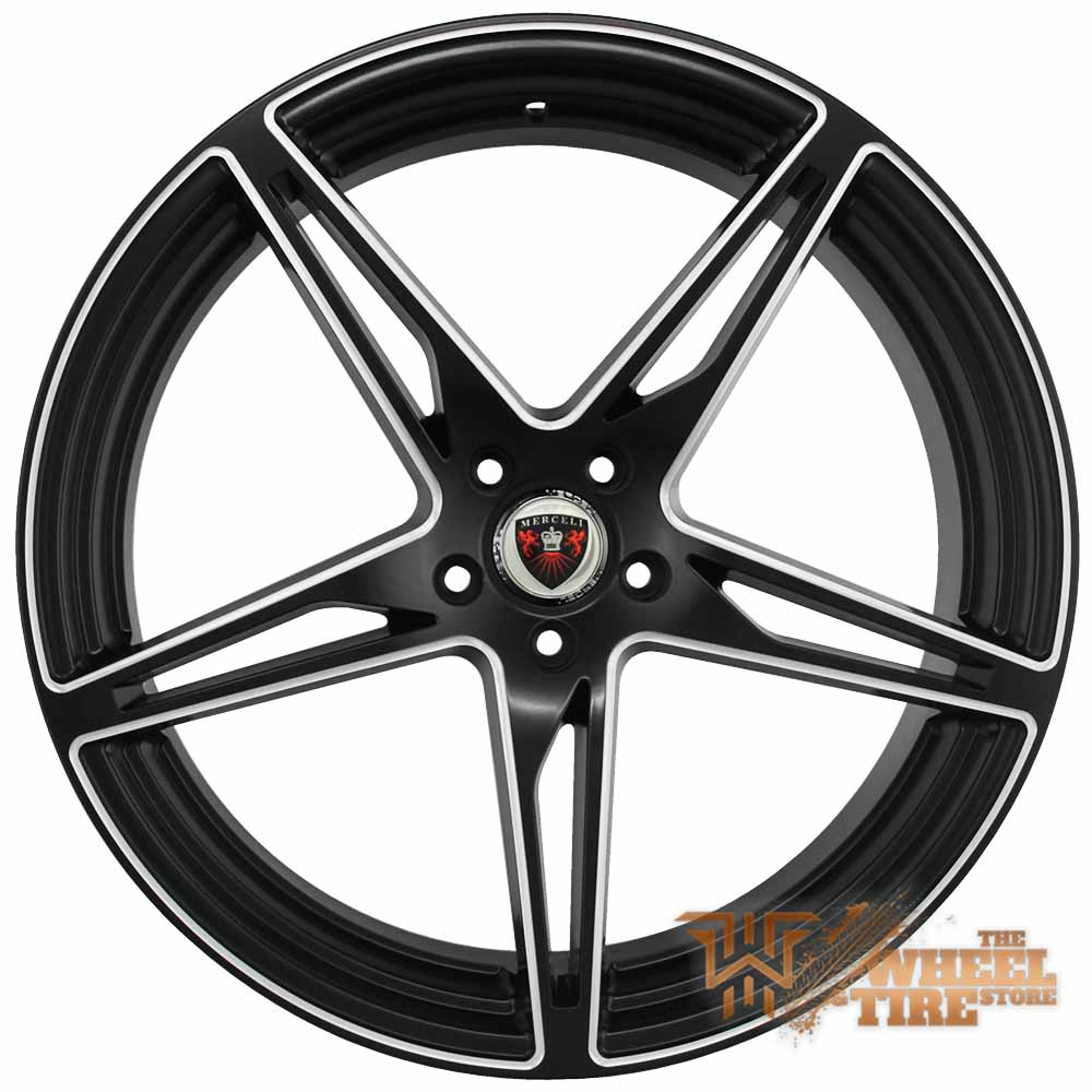 MERCELI M53 Wheel in Satin Black w/ Milled Edges & Black Lip