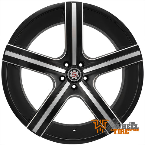 SCARLET SW30 Wheel in Black and Machined with Milled Windows (Set of 4)
