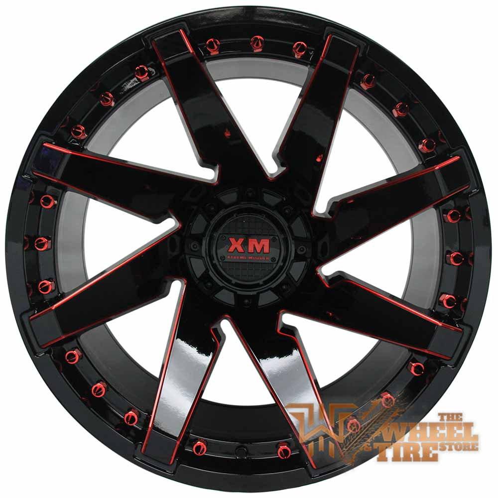 XTREME MUDDER XM-301 Wheel in Gloss Black Red Milled (Set of 4)