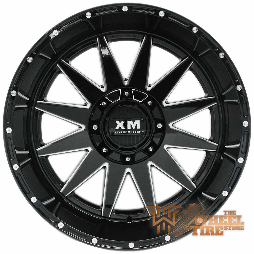 XTREME MUDDER XM-312 Wheel in Gloss Black & Milled Edges (Set of 4)