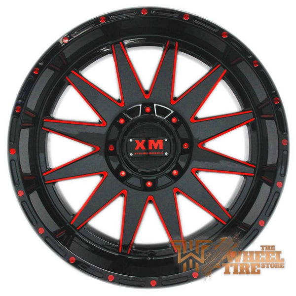 XTREME MUDDER XM-312 Wheel in Gloss Black with Red Milling