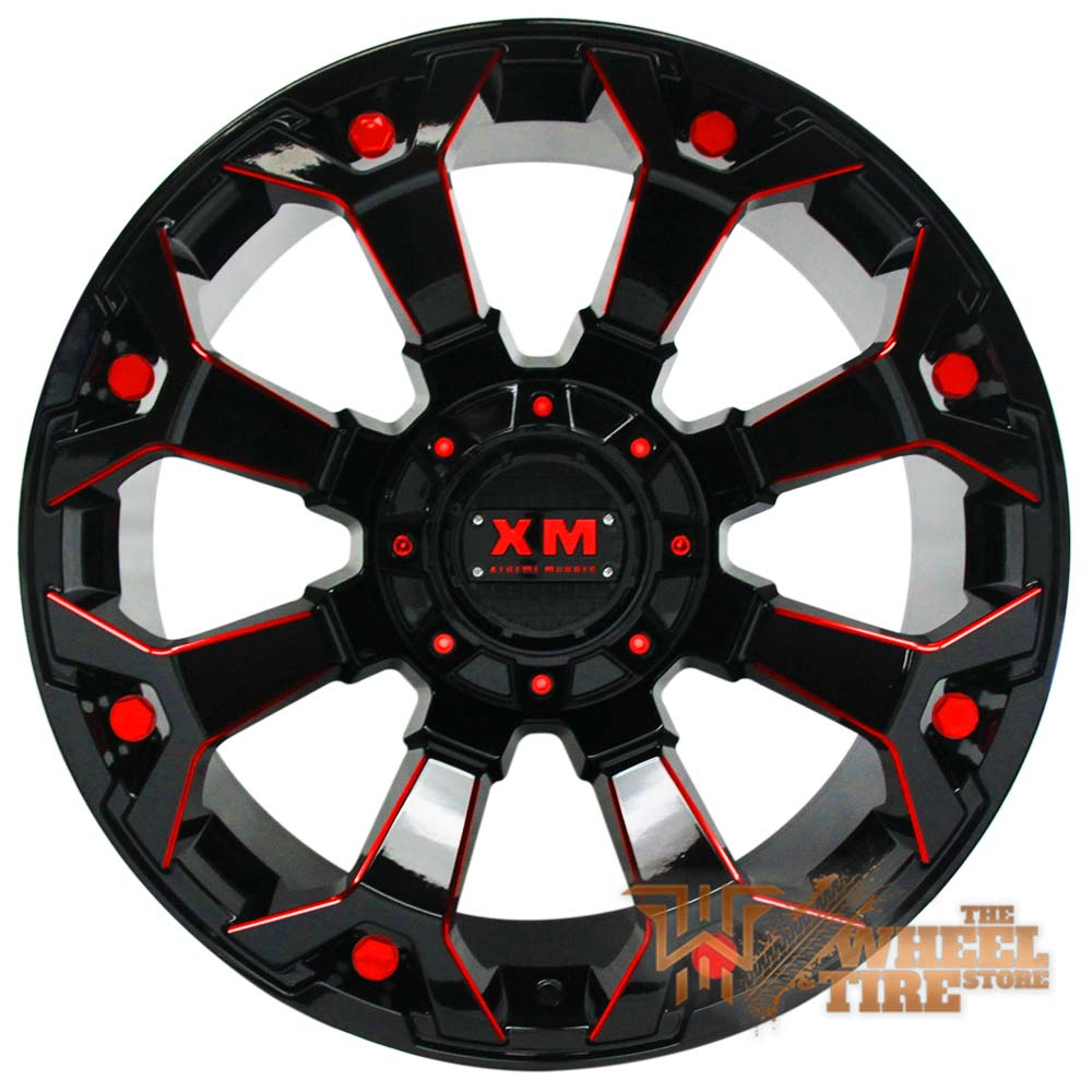 XTREME MUDDER XM-318 Wheel in Gloss Black & Red Milled Edges (Set of 4)