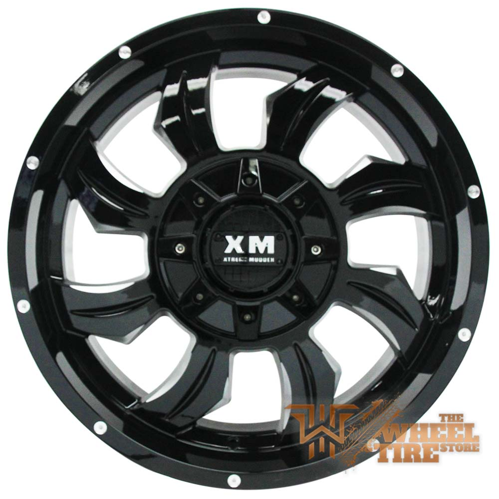 XTREME MUDDER XM-323 Wheel in Gloss Black & Milled Edges (Set of 4)