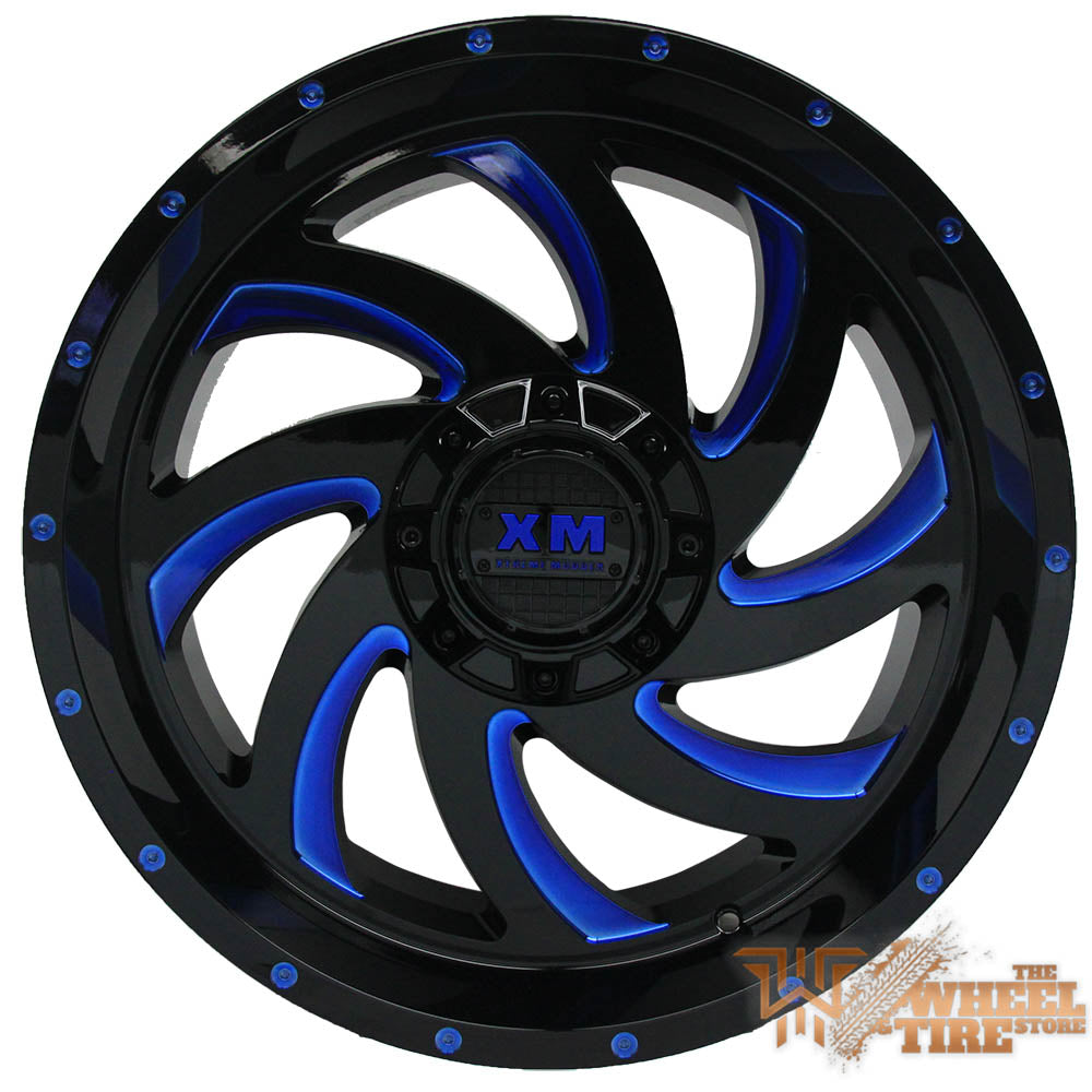 XTREME MUDDER XM-324 Gloss Black Blue Milled (Set of 4)