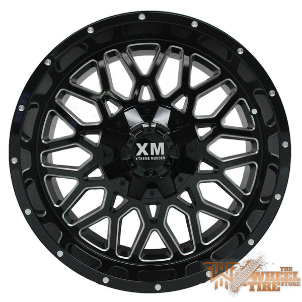 XTREME MUDDER XM-328 Gloss Black Milled (Set of 4)
