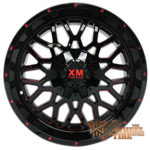 XTREME MUDDER XM-328 Wheel in Gloss Black with Red Milled Edges (Set of 4)