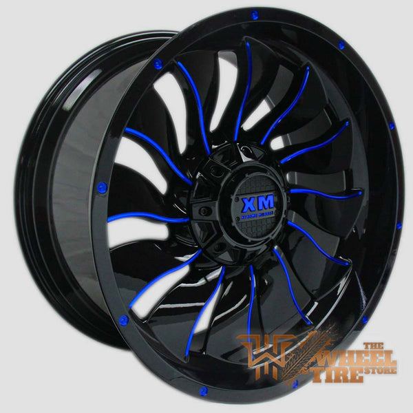 XTREME MUDDER XM-329 Wheel in Gloss Black & Blue Milled Edges (Set of 4)