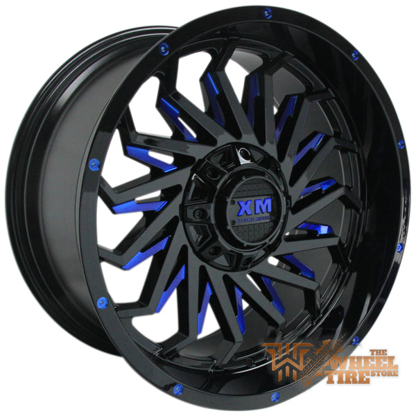 XTREME MUDDER XM-330 Wheel in Gloss Black with Blue Milled Edges (Set of 4)