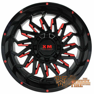 XTREME MUDDER XM-330 Wheel in Gloss Black with Red Milled Edges (Set of 4)