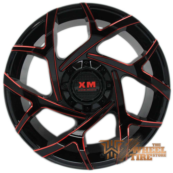 XTREME MUDDER XM-333 Wheel in Gloss Black & Red Milled Edges (Set of 4)